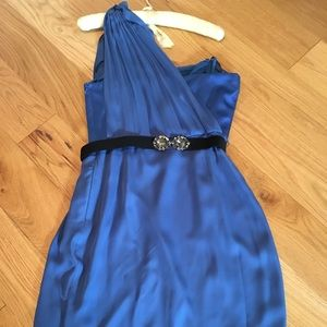 BCBG royal Blue one shouldered cocktail dress